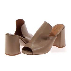 Pure Navy Huesti Peep Toe Block Heel Mules